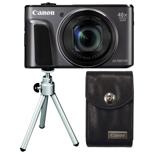 Canon PowerShot SX720 HS Wi-Fi 20.3MP 40x Optical Zoom Digital Camera with Case & Mini Tripod- Black