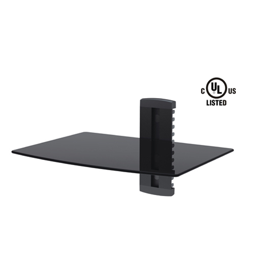 GlobalTone Single Floating Media DVD shelf for receiver, cable box and more, Black Tempered Glass