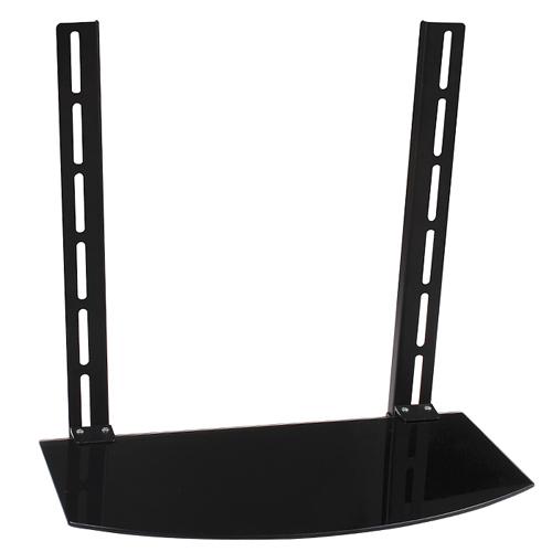 GlobalTone Support Tablette de Verre Trempe se Fixant au Support TV Dessus ou Dessous Noir