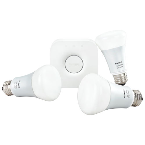 Philips Hue A19 Smart LED Light Bulb Starter Kit - White & Colour Ambiance (2nd Gen)