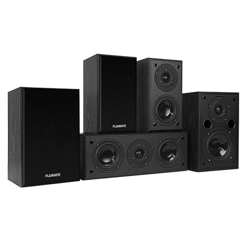 Fluance AV5HTB Dynamic Home Theater Surround Sound 5 Channel Speaker System including Bookshelf, Center & Rear Speakers