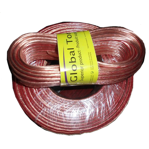 GlobalTone Speaker Wire 14 AWG 50 ft Clear Jacket 14 Gauge CCA
