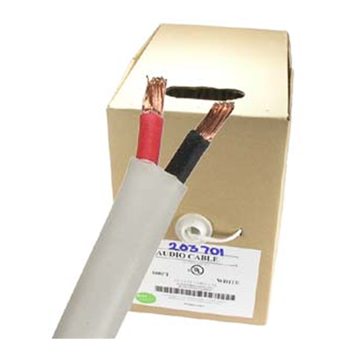 GlobalTone In Wall or In Ceiling FT4 Speaker Wire 2 Conductors 16 AWG 500 ft White 16/2 Gauge in Pull-Thru Box White CCA