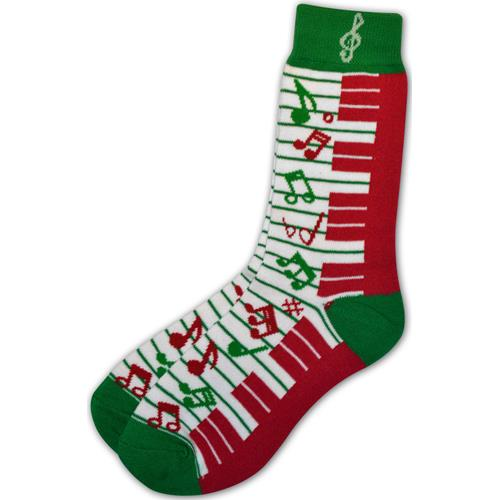 Holiday Keyboard Music Note Socks - Ladies, 9-11