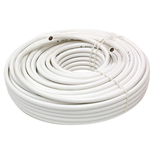 Dbyles RG6 Coaxial Video Cable Bulk Wire Without Connectors 100ft White