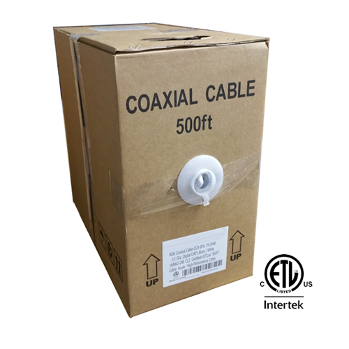 GlobalTone RG6 Coaxial Cable Bulk Wire in Pull-Thru Box 500ft Black cETLus Certified