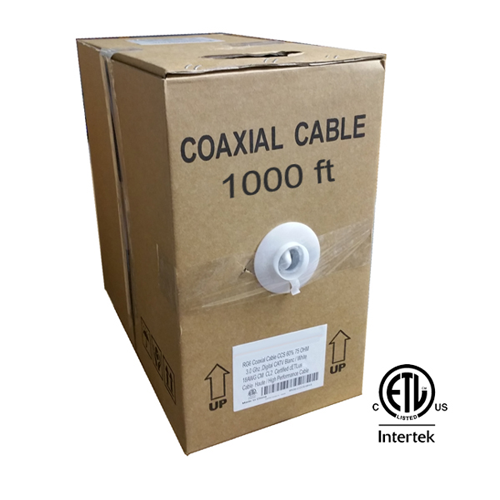 GlobalTone RG6 Coaxial Cable Bulk Wire in Pull-Thru Box 1000ft White cETLus Certified
