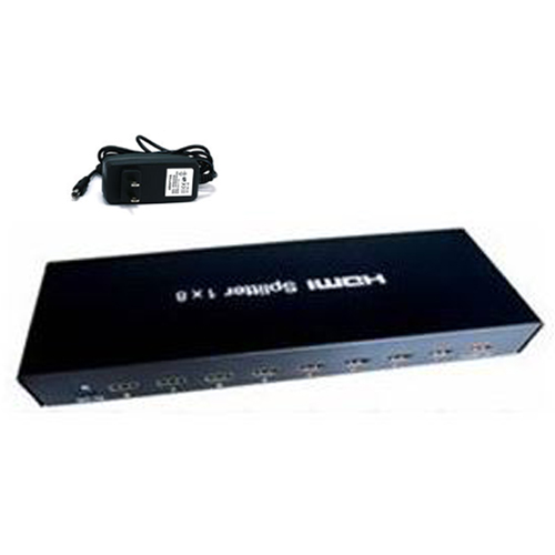 GlobalTone HDMI Active Splitter with 3D Support 1 Input to 8 identical Outputs