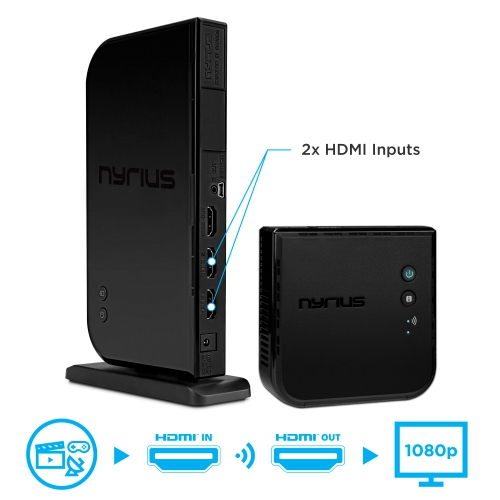 Nyrius Wireless HDMI 2x Input Transmitter & Receiver for Streaming HD 1080p 3D Video from Cable, Bluray, PS4, Xbox, PC