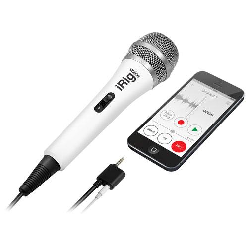 Micro iRig Voice pour karaoké d'IK Multimedia pour téléphone intelligent/tablette - Blanc