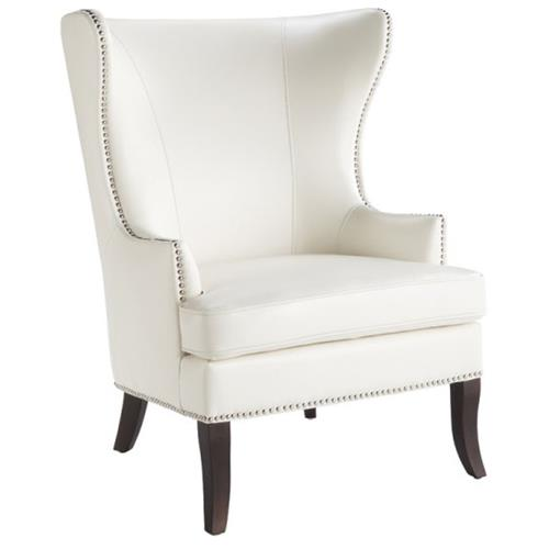 Wing Chair with Nail head in Ivory Leather