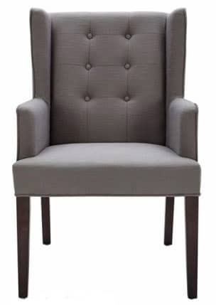 Tufted Fabric Arm Chair in Grey