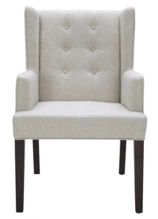 Tufted Fabric Arm Chair in Neutral Linen