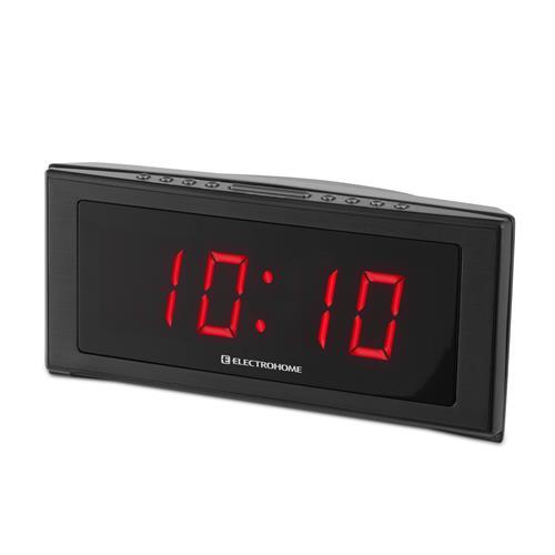 "Electrohome 1.8"" Jumbo LED Alarm Clock Radio with Battery Backup, Auto Time Set, Digital AM/FM Tuner & Dual Alarm"
