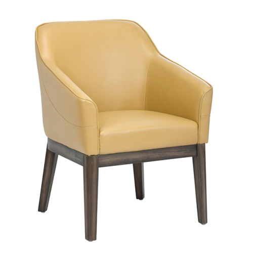 Compact ArmChair in Mustard Leather - Mustard