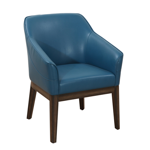 Compact ArmChair in Turquoise Leather - Turquoise