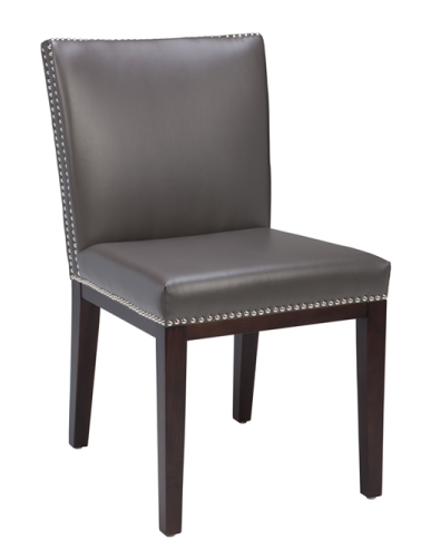 Where To Buy Grey Leather Nailhead Dining Room Chairs