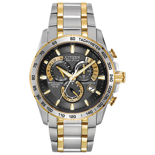 Citizen AT4004-52E Perpetual Chrono A-T 42mm Men's Analog Solar Powered Dress Watch - Silver/Gold/Black