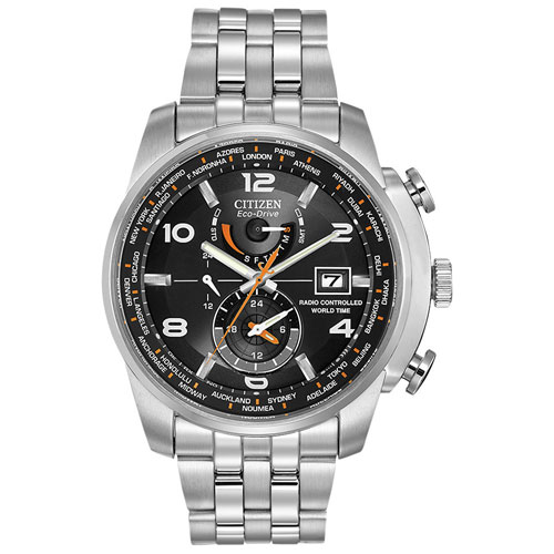 Citizen AT9010-52E World Time A-T 43mm Men's Analog Solar Powered Dress Watch - Silver/Black
