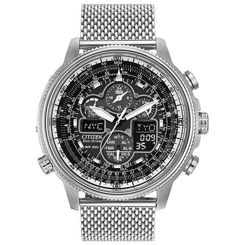 Citizen JY8030-83E Navihawk 48mm Men's Analog/Digital Solar Powered Atomic Sport Watch - Black/Silver