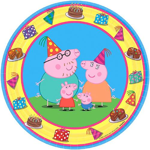 Peppa Pig Dessert 7 Inch Round Plates [8 in a Package]