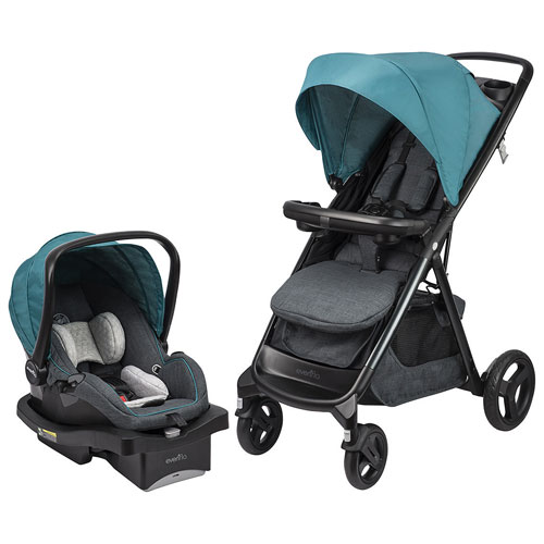 Evenflo Lux24 Travel System Standard Stroller with LiteMax 35 Infant Car Seat - Teal/Black