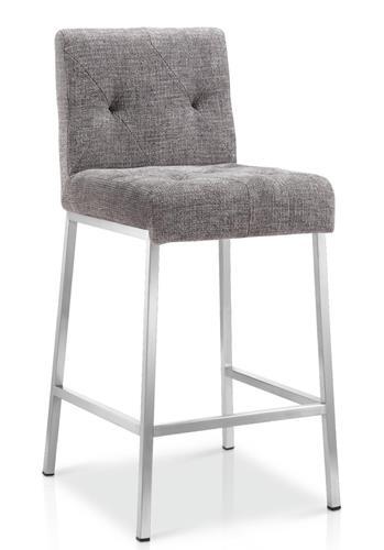 Enjoyable Stylish Tufted Counter Stool Grey Tweed Ibusinesslaw Wood Chair Design Ideas Ibusinesslaworg