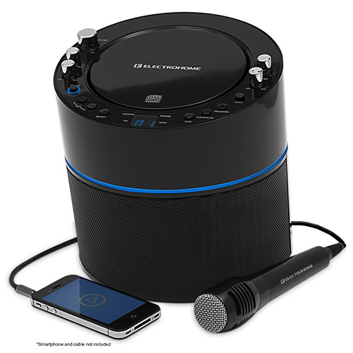 Electrohome Karaoke Machine Speaker System CD+G Player with 2 Microphone Connections, & AUX input for Smartphones