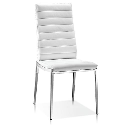 Modern Dining Chair In White Faux Leather Dining Chairs
