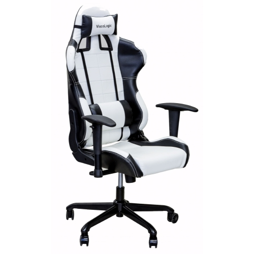 ViscoLogic Series CAYENNE Gaming Racing Style Swivel Office Chair (White & Black)