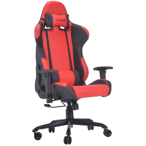 ViscoLogic Series CAYENNE Gaming Racing Style Swivel Office Chair (Red & Black)