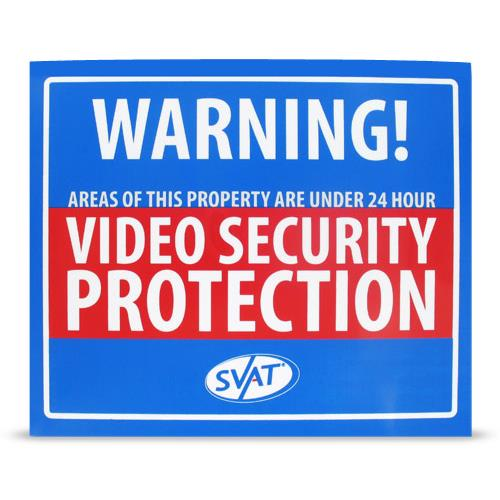 SVAT VU102-SGN Indoor Video Security Surveillance System Deterrent Warning Sign with 4 Window Warning Stickers