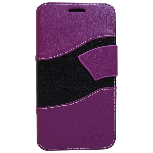 Exian Galaxy Grand Prime Wave Wallet Folio Case - Purple/Black