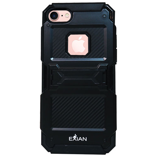 Exian iPhone 7 Fitted Soft Shell Case with Card Slot - Black