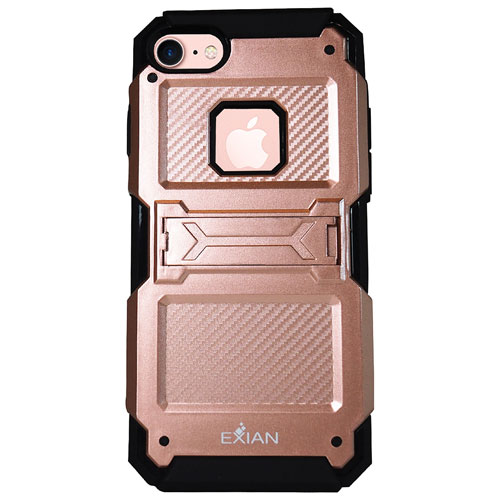 Exian iPhone 7 Fitted Soft Shell Stand Case - Rose Gold