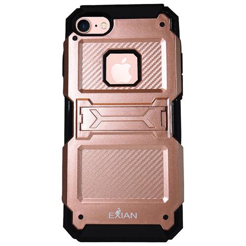 Étui souple ajusté avec support d'Exian pour iPhone 7 - Rose doré