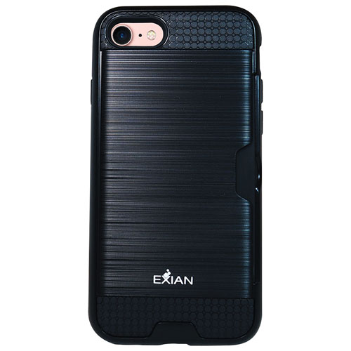 Exian iPhone 7 Fitted Soft Shell Stand Case - Black