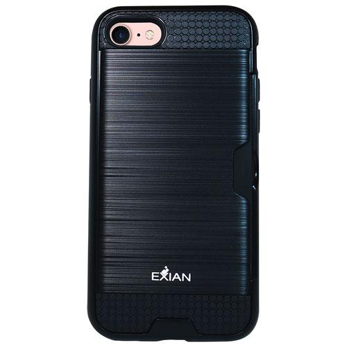 Étui souple avec support d'Exian pour iPhone 7 - Noir