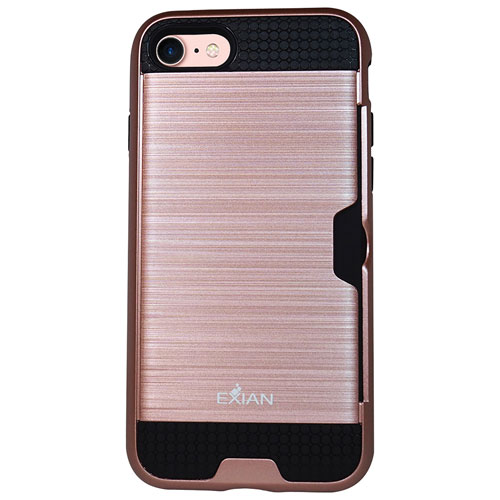 Exian iPhone 7 Fitted Soft Shell Case with Card Slot - Rose Gold