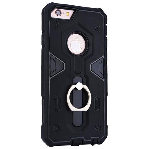 Exian iPhone 7 Fitted Soft Shell Case with Ring - Black