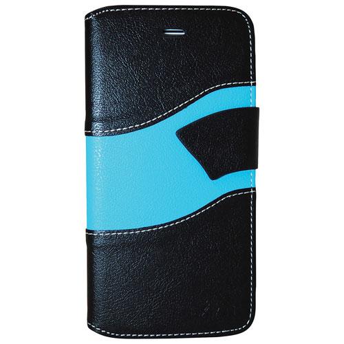 Étui portefeuille d'Exian pour iPhone 7 - Noir - Bleu
