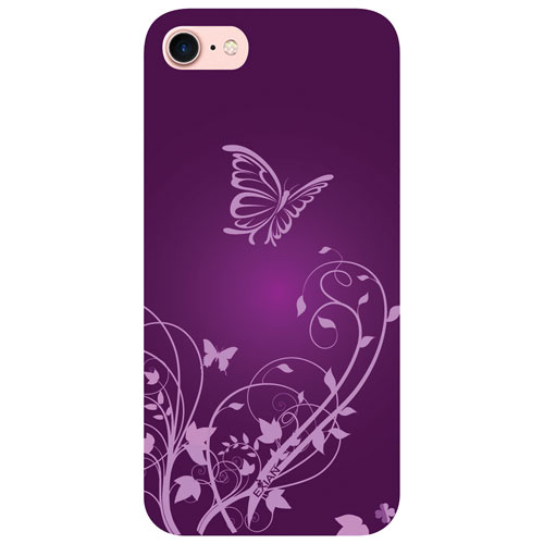 Exian iPhone 7 Butterfly Fitted Soft Shell Case - Purple