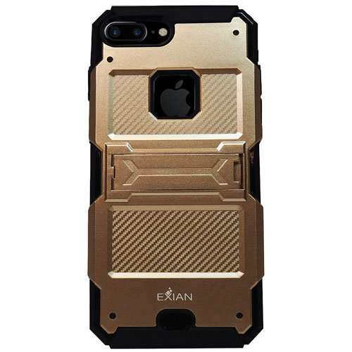 Exian iPhone 7 Plus Fitted Soft Shell Stand Case - Gold