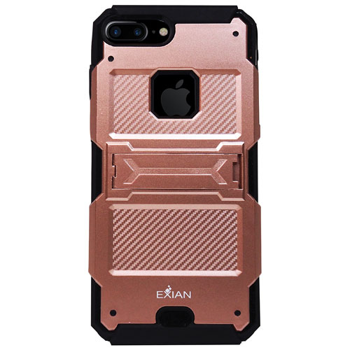 Exian iPhone 7 Plus Fitted Soft Shell Case with Kickstand - Rose Gold