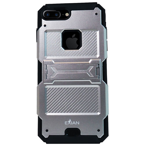 Exian iPhone 7 Plus Fitted Soft Shell Stand Case - Silver