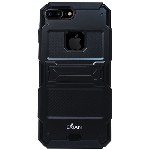 Exian iPhone 7 Plus Fitted Soft Shell Case with Kickstand - Black