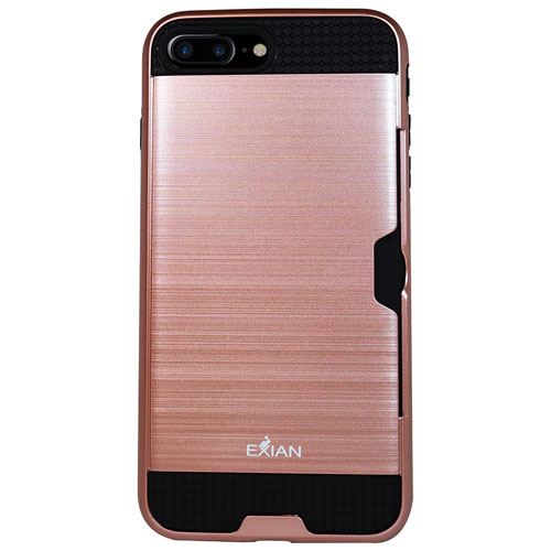 Exian iPhone 7 Plus Fitted Soft Shell Case - Rose Gold