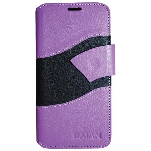Exian iPhone 7 Plus Wave Wallet Folio Case - Purple/Black