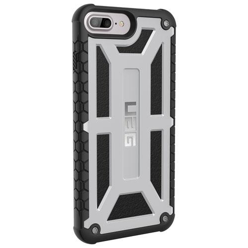 Étui rigide ajusté Monarch d'UAG pour iPhone 6s Plus/7 Plus/8 Plus - Argenté platine - Noir