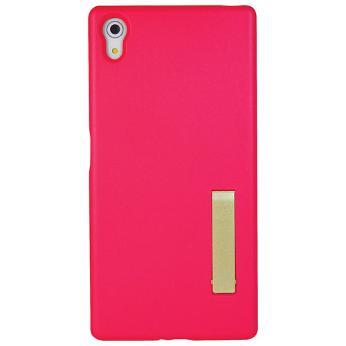 Exian Sony Xperia Z5 Fitted Soft Shell Case with Kickstand - Pink